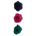 Fabric Flower Clips Blue Pink (3PC)