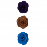 Fabric Flower Clips Plum Blue (3PC)