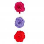 Fabric Flower Clips Red (3PC)