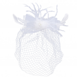 White Mesh Net Feather Pearl Bride Bridal Wedding Birdcage Veil