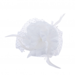 Wedding Bride Bridal White Polka Dot Fabric Flower Mesh Veil