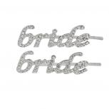 "Silvertone Bling  Bridal ""Bride"" Hair Bobby Pin Set (2PC)"