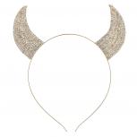 Gold Tone Faux Rhinestone Devil Horn Costume Cat Ear Headband