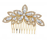 Gold Tone and Crystal Pave Bridal Bride Flower Floral Hair Comb