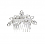 Silvertone Crystal Pave Bridal Bride Flower Floral Hair Comb