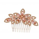 Goldtone Pink Crystal Pave Bridal Bride Flower Floral Hair Comb