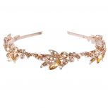 Rose Gold Tone Bridal Flower Stone Hair Crown Headband