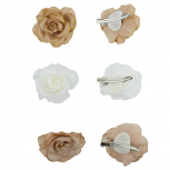 Tan Ivory Wedding Bridal Flower Rose Flower Hair Clip Set 3Pc