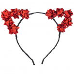 Red Christmas Holiday Accessories Gift Bow Cat Ear Headband