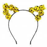 GoldTone Christmas Holiday Accessories Gift Bow Cat Ear Headband
