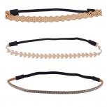 Boho Tan Stone Stretch Head Wrap Headband Assorted Set 3PC
