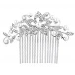 SilverTone Pearl Rhinestone Bridal Special Occasion Hair Comb