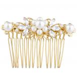 Gold Tone Crystal Rhinestone Faux Pearl Floral BridalHair Comb