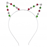 Silver Tone Holiday Christmas Jingle Bells Cat Ear Headband
