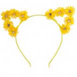 Yellow Crystal Chiffon Flower Cat Ear Halloween Headband