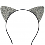 Girls Black Halloween Crystal Sticker Stone Cat Ear Headband
