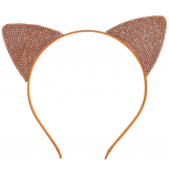 Girls Orange Halloween Crystal Sticker Stone Cat Ear Headband