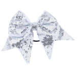 Oversized Large Silver Sequin White Grosgrain Bow Hair Clip