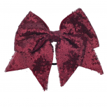 Oversized Large Dark Red Burgundy Sequin Grosgrain Bow Hair Clip