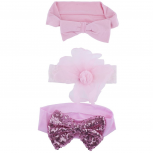 Pink Sequin Bow Flower Baby Girl Infant Hair Headband Set 3PC