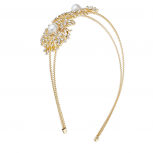 Gold Double Pearl Flower Double Wire Bridal Fashion Headband