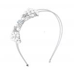 Silver Tone Faux Pearl Bow Double Wire Bridal Fashion Headband