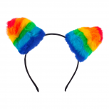 Gay Pride Rainbow Furry Cat Ear Kitty Headband Hair Accessories