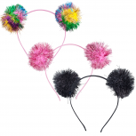 Rainbow Party Tinsel Pom Pom Hair Accessories Headband Set 3PC
