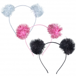 Multicolor Party Tinsel Pom Hair Accessories Headband Set 3PC