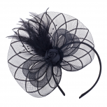 Black Mesh Feather Rose Fascinator Hair Accessories Headband