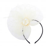 Ivory Mesh Feather Rose Fascinator Hair Accessories Headband