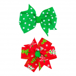 Red Green Polka Dot Christmas Tree Christmas Holiday 2PC Bow Set