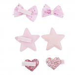 Pink Star Heart Bow Glitter Baby Girl Infant Hair Clip Set 3PR