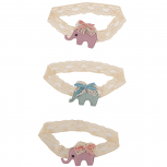Lace Elephant Baby Girl Infant Hair Accessories Headband Set 3PC