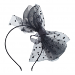 Black Fishnet Bow Fascinator Headband Hair Accessories Halloween
