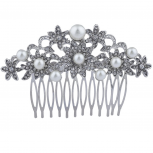 Silver Tone Crystal Rhinestone Pave Faux Pearl Flower Hair Comb