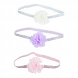 Pink White Purple Baby Girl Infant Flower Stretch Headband Set