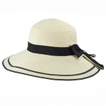Beige Navy Trim Wide Brim Thick Ribbon Floppy Straw Summer Hat
