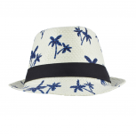 Ivory and Blue Palm Tree Printed Fedora Canvas Straw Summer Hat