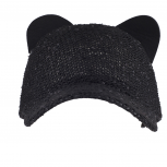 Black Sequin Cat Ear Baseball Cap Dat Hat Trendy Hat for Girls