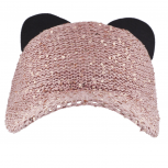 Pink Sequin Cat Ear Baseball Cap Dat Hat Trendy Hat for Girls