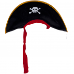 Adult Black White Skull Crossbones Pirate Hat Halloween Costume