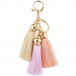 Ivory Peach Pink PastelTrio Fabric Tassel Keychain