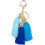 Gold Tone Three Tassel Tonal Blue Tassel Keychain