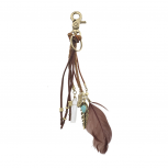 Boho Brown Suede Braided Feather Marble Bead KeyChain Bag Charm