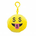 Yellow Emoji Money Hungry Face Fabric Pillow Bag Charm KeyChain