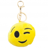 Yellow Emoji One Eye Wink Face Fabric Pillow Bag Charm KeyChain