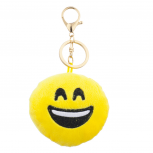 Yellow Emoji Laughing Face Fabric Pillow Bag Charm Key Chain