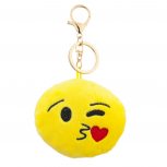 Yellow Emoji Kissy Face Fabric Pillow Bag Charm Key Chain
