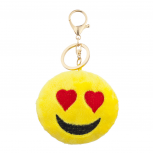 Yellow Emoji Love Struck Face Fabric Pillow Bag Charm Key Chain